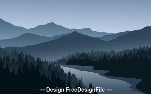 landscape cartoon illustration vector