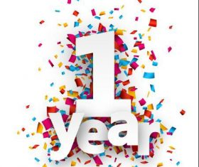 1 year font and confetti vector