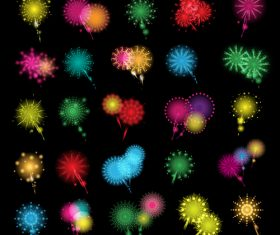 A riot of colours fireworks icons set vector