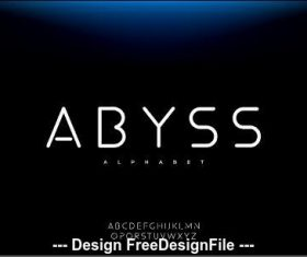 Abyss font minimalist typography design vector