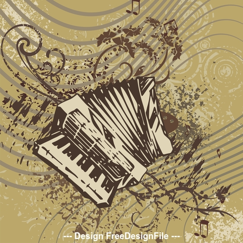 Accordion grunge music instrument vector