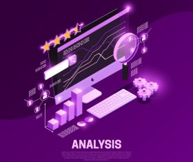 Analysis isometric symbols vector