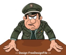 Angry general cartoon pattern vector