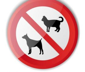 Animal prohibition sign vector