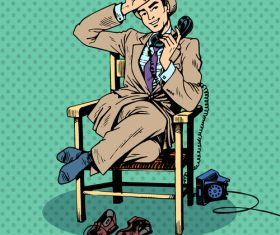 Answer the phone comic pop art style vector