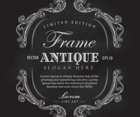 Antique frame chalkboard hand drawn label banner vector