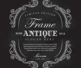 Antique frame chalkboard hand drawn label banner vector