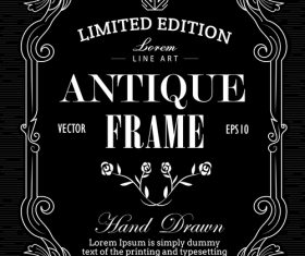 Antique frame hand drawn label blackboard western banner vector