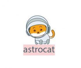 Astronaut cat mascot logo vector