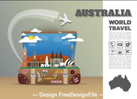 Australia travel cartoon illustration vector