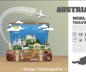 Austria travel cartoon illustration vector