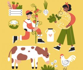Autumn farm cartoon illustration vector