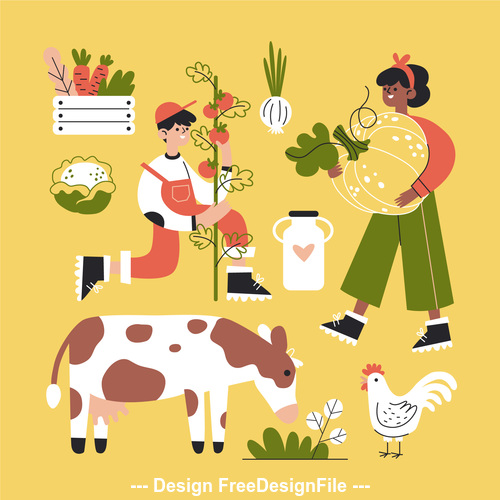Autumn farm cartoon illustration vector