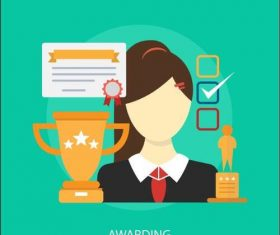 Awarding business elements vector