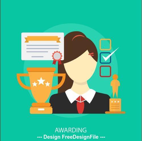 Awarding business elements vector
