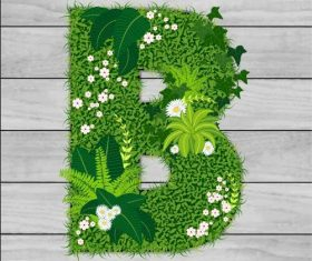 B floral letters vector