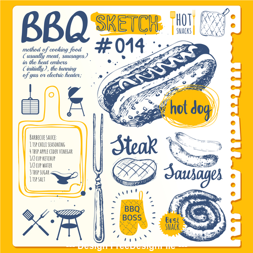 BBQ sketch illustration vector