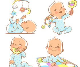 Baby at play vector