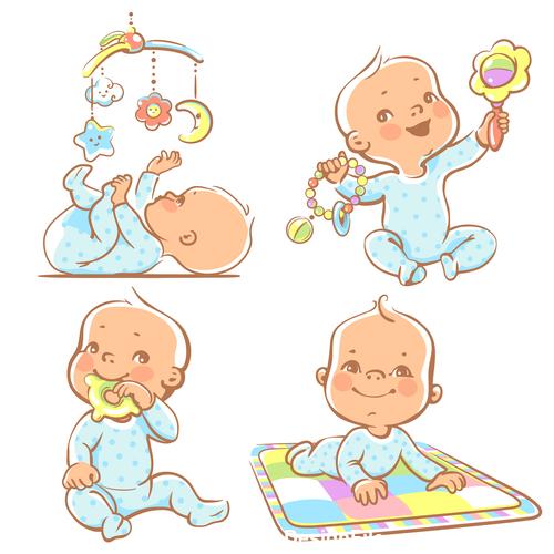 Baby at play vector