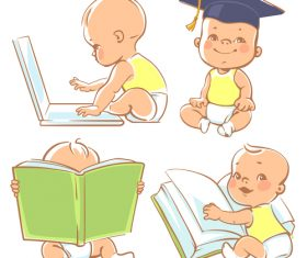 Baby reading vector