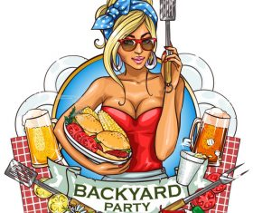 Backyard party cartoon vector