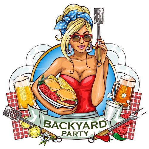 Backyard party cartoon vector