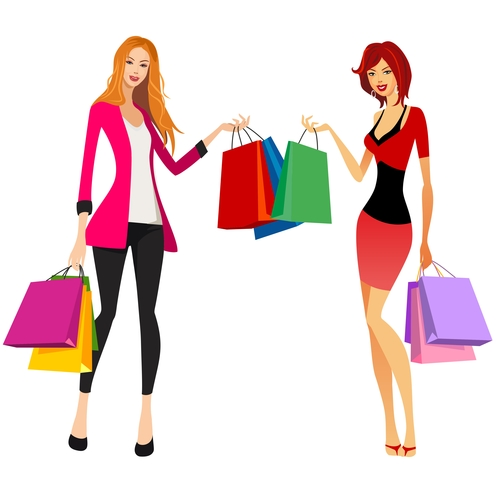 Bags female silhouettes vector