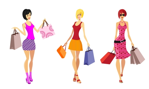 Bags female skirt colorful vector