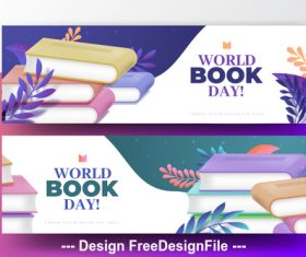 Banner world book day vector