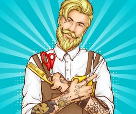 Barber pop art illustration style vector