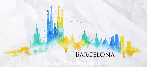 Barcelona watercolor city silhouette vector