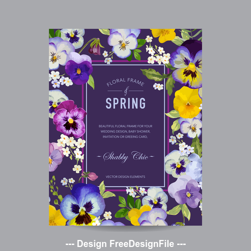 Beautiful floral frame card vector