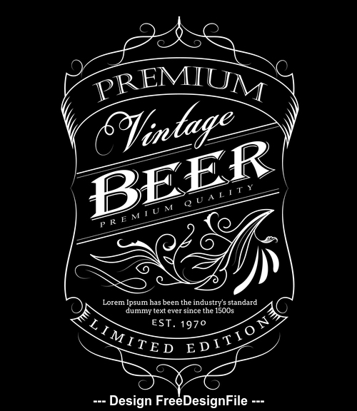 Beer label hand drawn frame blackboard vector illustration