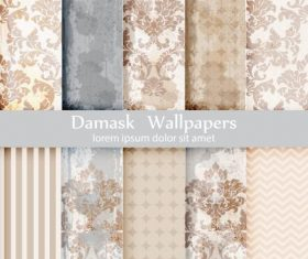 Beige flower damask patterns vector