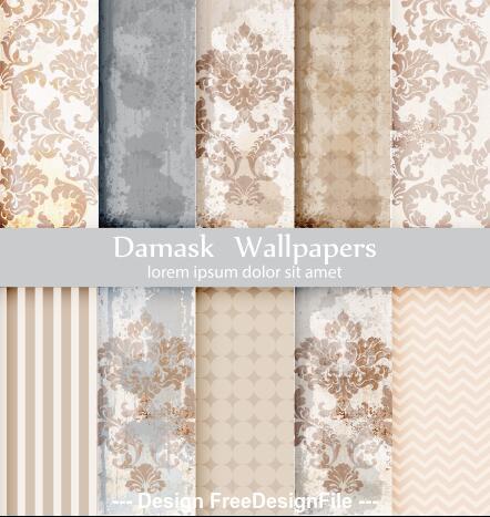 Beige flower damask patterns vector