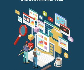 Big data analytics illustration vector