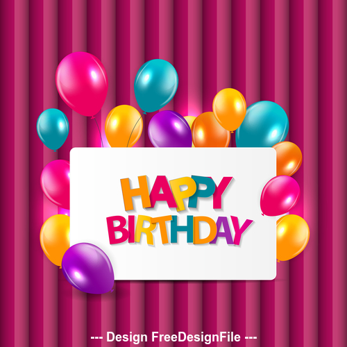 Birthday card and colorful balloons background vector