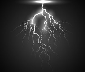 Black and white lightning on a dark background vector