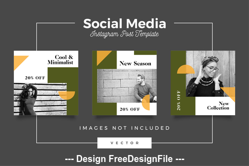 Black and white photo social media template vector