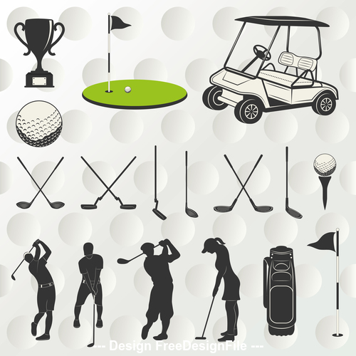 Black and white silhouette golf element vector