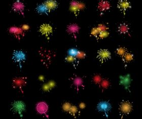 Black background fireworks icons set vector