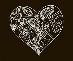 Black background love doodle with floral vector