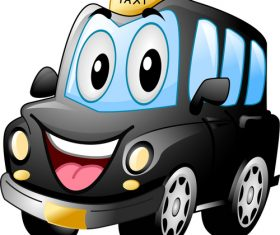 Black cab cartoon vector