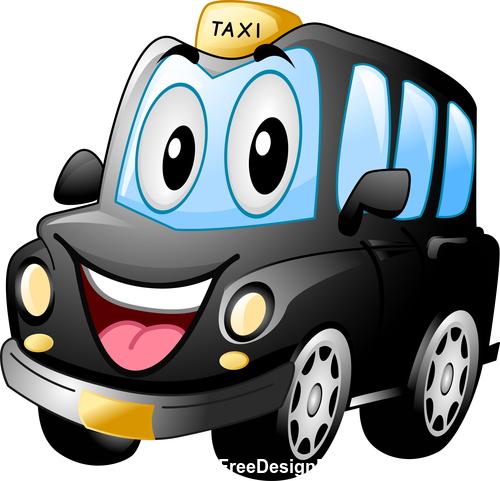 Black cab cartoon vector