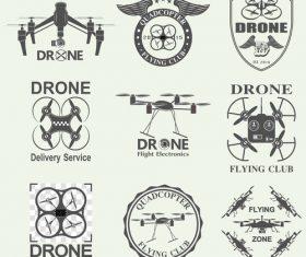 Black drone icon vector