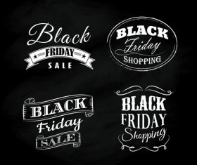 Black friday blackboard calligraphic vintage ornaments vector