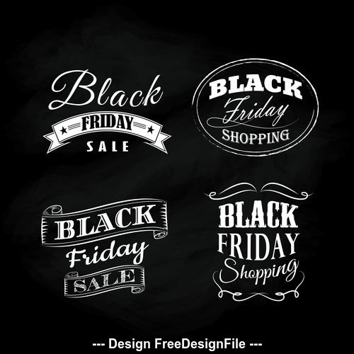 Black friday blackboard calligraphic vintage ornaments vector