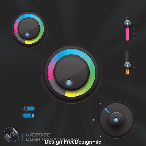 Black interface button design element vector