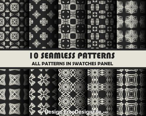 Black white seamless pattern vector