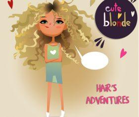 Blonde curles girl vector